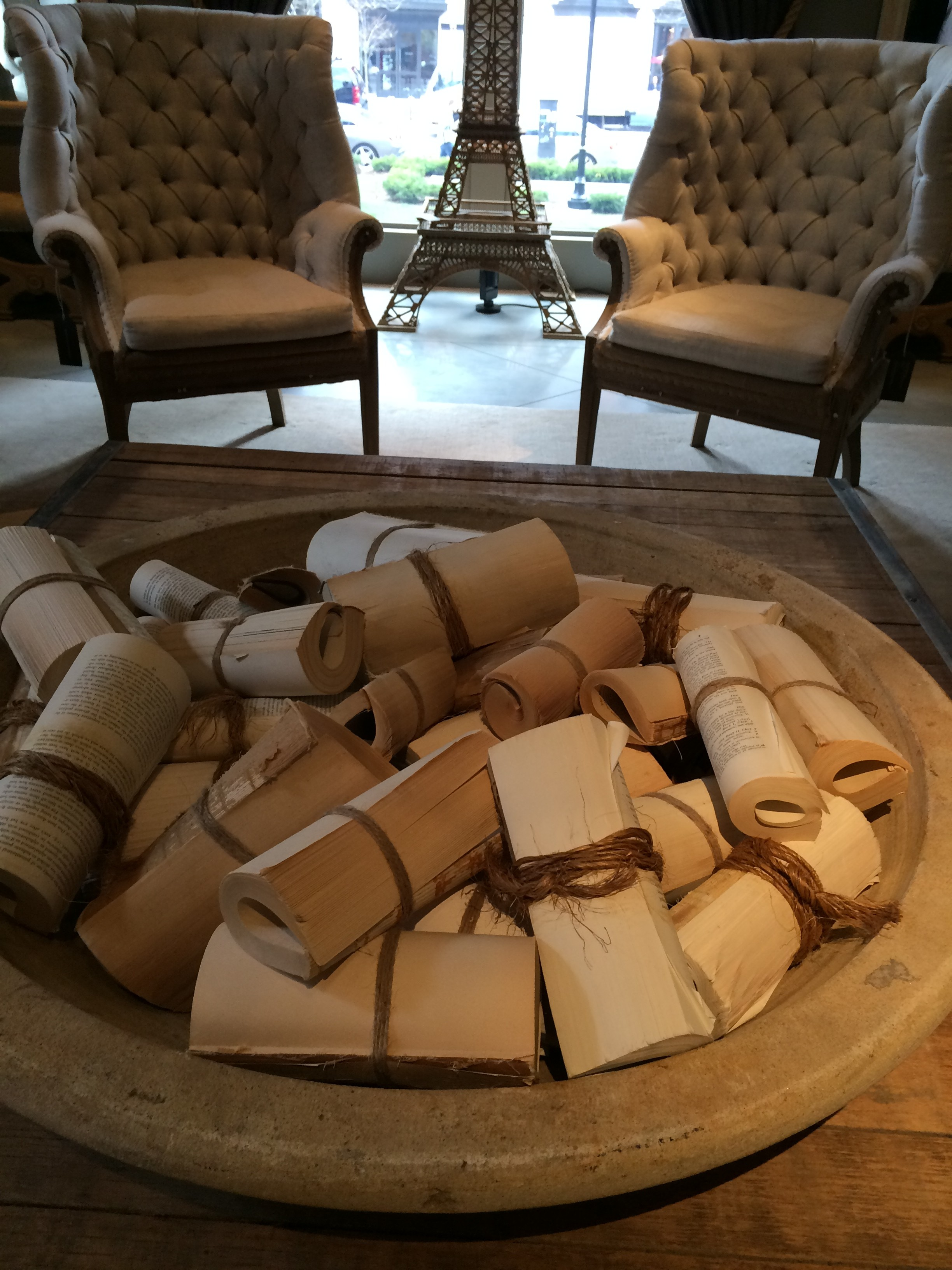 Decorating With Old Books In Fun Like With This Big Bowl Of Rolled Books Nicolicious